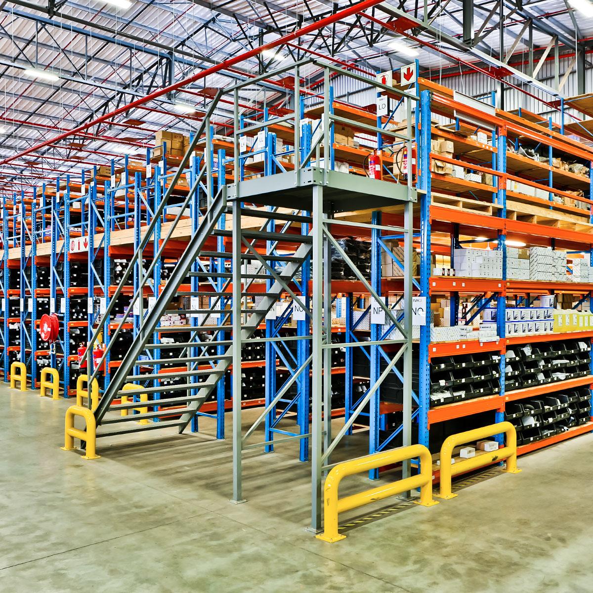 Storelab mezzanine floor level with stairs